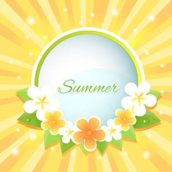 Vector floral background with summer text - vector gratuit #128411