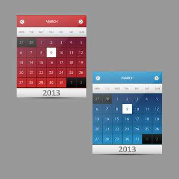 Vector calendar illustration - 9 of March, 2013 - vector #128431 gratis