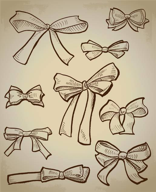 Vector collection of sketch bows - vector gratuit #128511