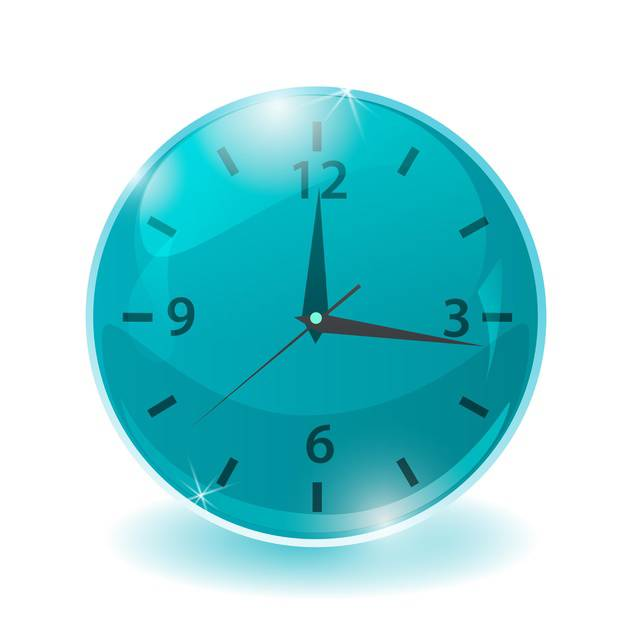 Vector illustration of blue clock on white background - vector #128631 gratis