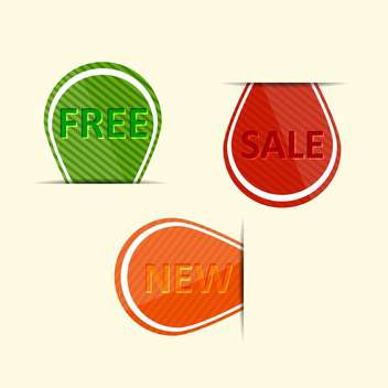 Vector set of colorful labels - sale, new, free - vector #128691 gratis