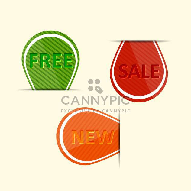 Vector set of colorful labels - sale, new, free - Free vector #128691