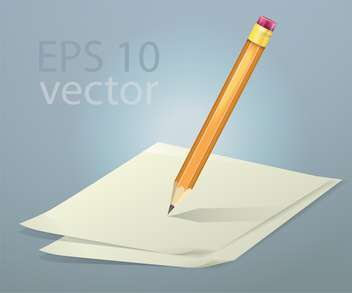 Vector illustration of papers and pencil - vector gratuit #128711