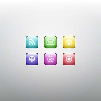 Colorful Vector Set of Social Web Icons - vector gratuit #128781