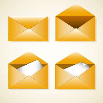 Vector set of four yellow envelopes - vector gratuit #128791