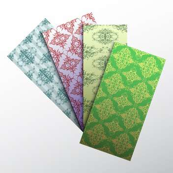 set of colorful damask business cards - vector gratuit #129041