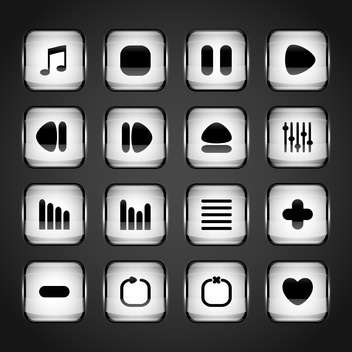 media web vector buttons set - vector gratuit #129071