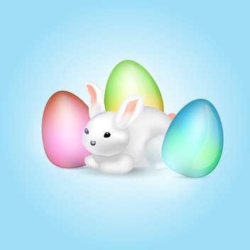 easter bunny with colorful eggs - vector gratuit #129121