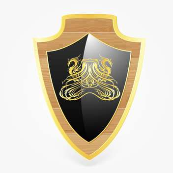 vector shield with dragon symbol - Free vector #129221