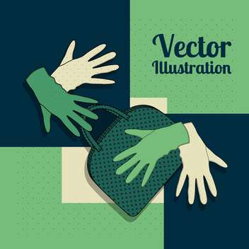 Vector green background with gloves and handbag - vector gratuit #129281