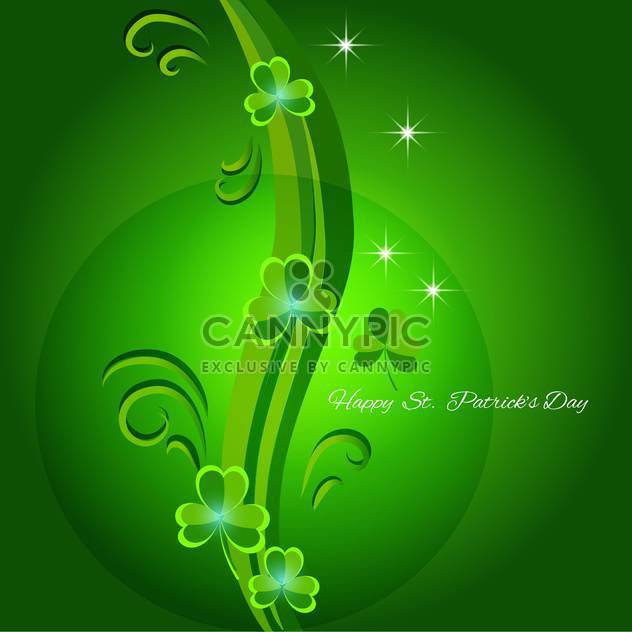 Vector green St Patricks day greeting card with clover leaves - Free vector #129351