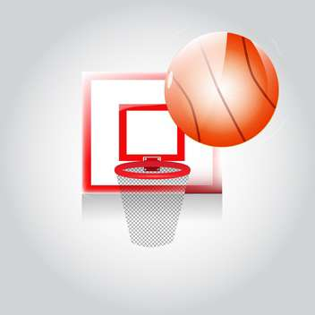 Vector basketball net and ball on grey background - vector gratuit #129391