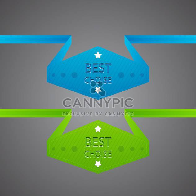 Vector blue and green best choice labels on gray background - Free vector #129401