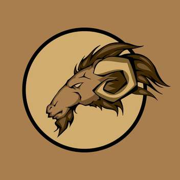 Vector illustration of ram head inside circle on brown background - Free vector #129441