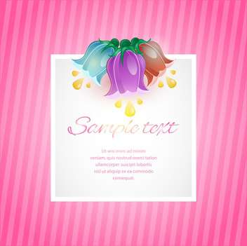 Vector pink card with spring flowers and frame - vector gratuit #129461