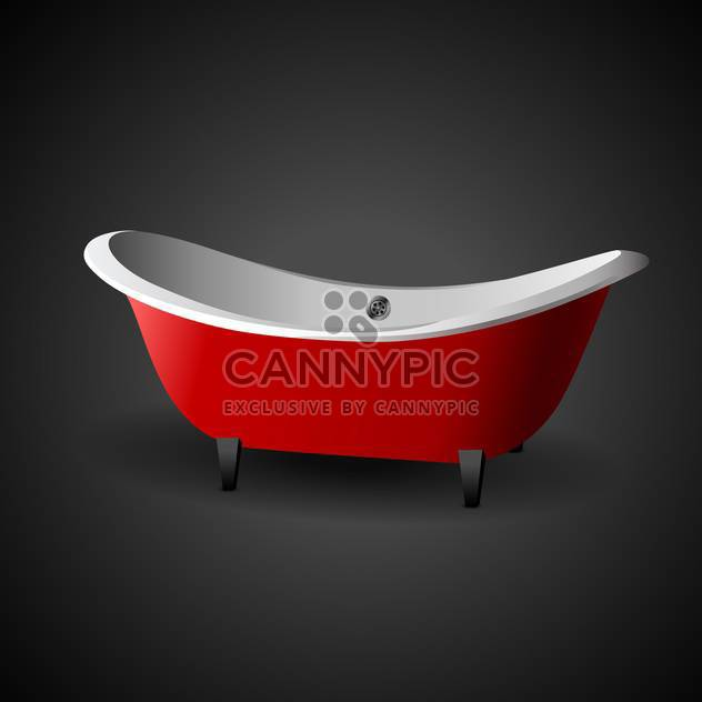 Vector illustration of red cartoon bath on black background - Free vector #129501