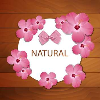 Vector frame with pink spring flowers and bow on wooden background - vector gratuit #129531