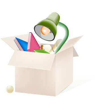 Vector illustration of cardboard box with education things isolated on white background - vector gratuit #129621