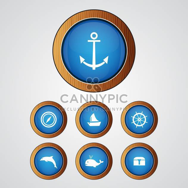 Vector set of blue sea icons on gray background - Free vector #129631