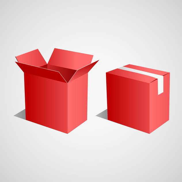 Vector illustration of open and closed red boxes on gray background - Free vector #129651