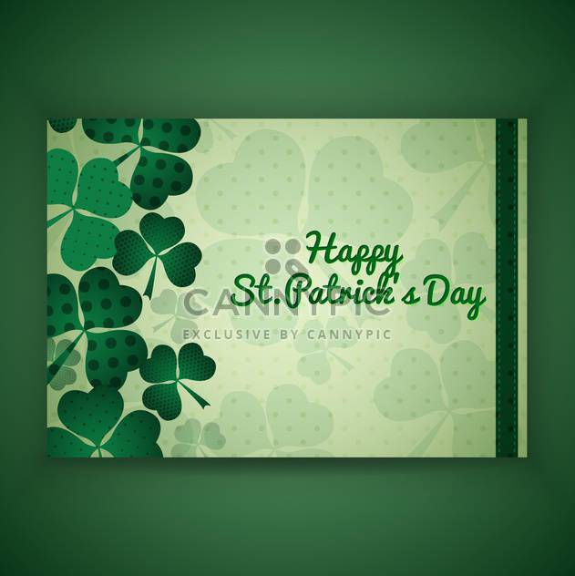 Vector green St Patricks day greeting card with clover leaves - Free vector #129681