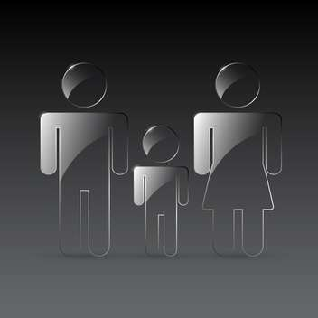 Vector transparent man, woman and child signs on gray background - Free vector #129691