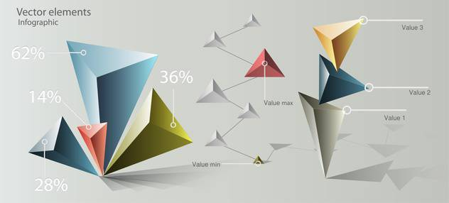 Vector paper origami infographic elements - vector gratuit #129721