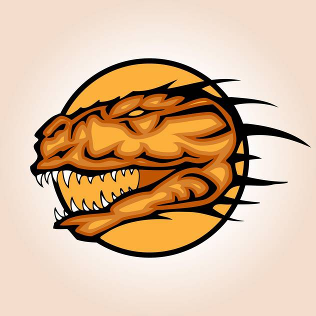 Vector illustration of dinosaur head inside circle on orange background - vector #129731 gratis