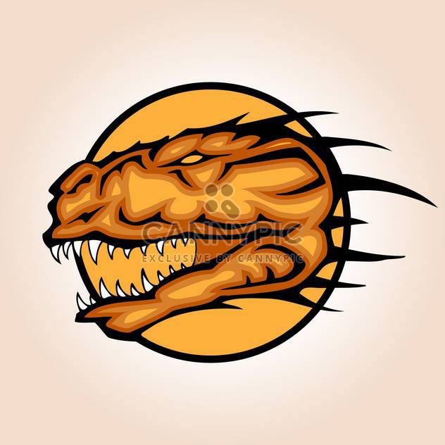 Vector illustration of dinosaur head inside circle on orange background - Free vector #129731