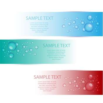 Vector set of colorful banners with water drops - vector gratuit #129751