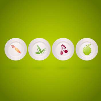 Vector set of icons with vegetables and fruits on white plates on green background - vector gratuit #129771