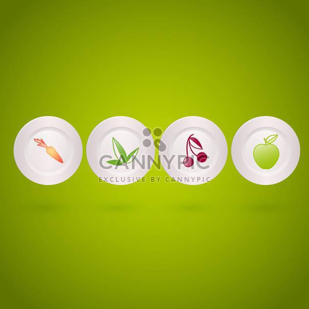 Vector set of icons with vegetables and fruits on white plates on green background - Free vector #129771