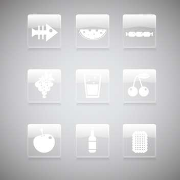 Vector set of food icons on gray background - vector gratuit #129781