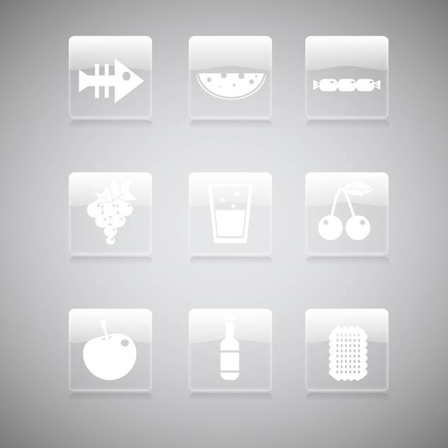 Vector set of food icons on gray background - Free vector #129781