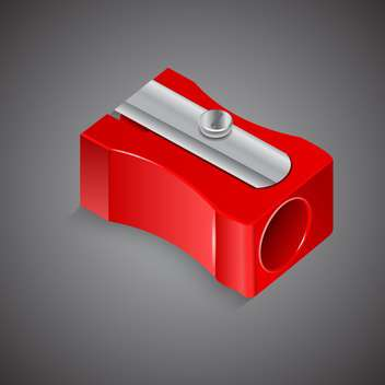 Vector illustration of red pencil sharpener on gray background - Free vector #129791