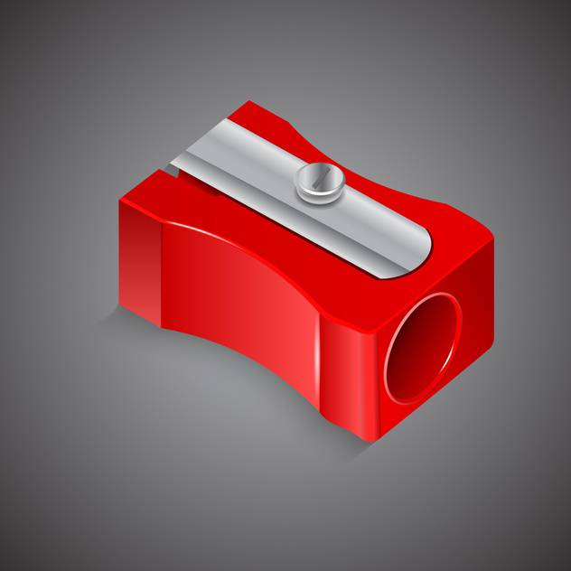 Vector illustration of red pencil sharpener on gray background - vector #129791 gratis