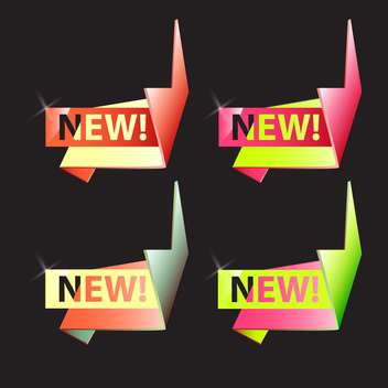 Vector origami new banners set with ribbons on black background - vector gratuit #129801