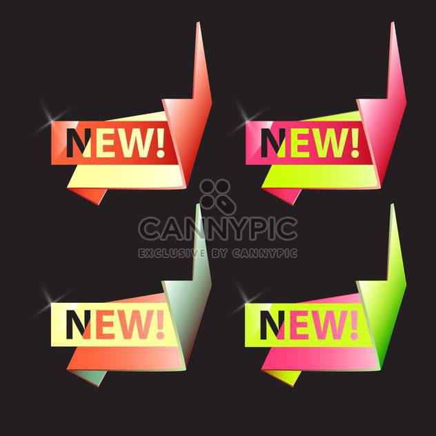 Vector origami new banners set with ribbons on black background - Free vector #129801