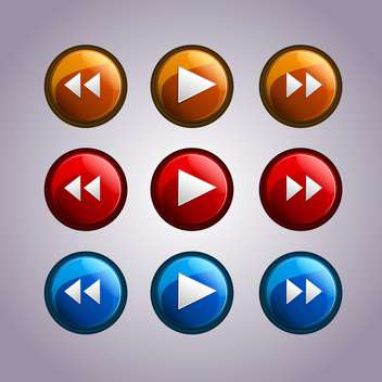 Vector set of colorful media symbol buttons - vector gratuit #129841