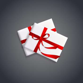 Vector illustration of gift boxes with red ribbons on gray background - vector gratuit #129861