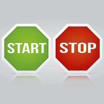 Start and Stop vector buttons on gray background - vector gratuit #129891