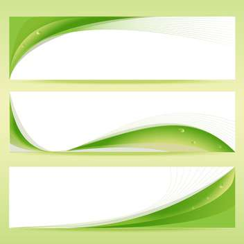 Vector set of green floral banners with water drops - vector gratuit #129901