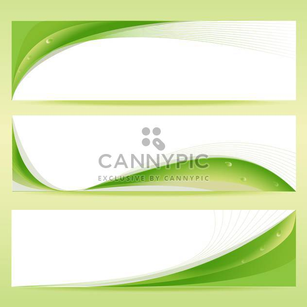 Vector set of green floral banners with water drops - Free vector #129901