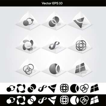 Vector set of abstract geometric buttons - vector gratuit #129921