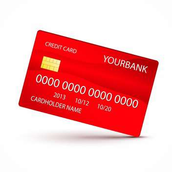 Vector illustration of red credit card on white background - vector gratuit #129941