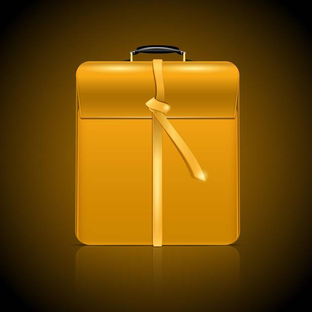 Vector illustration of yellow business briefcase on brown background - Free vector #129951
