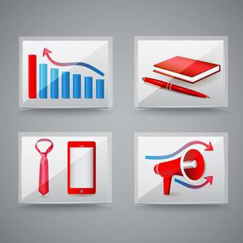 Business and office icons on grey background - Kostenloses vector #130001