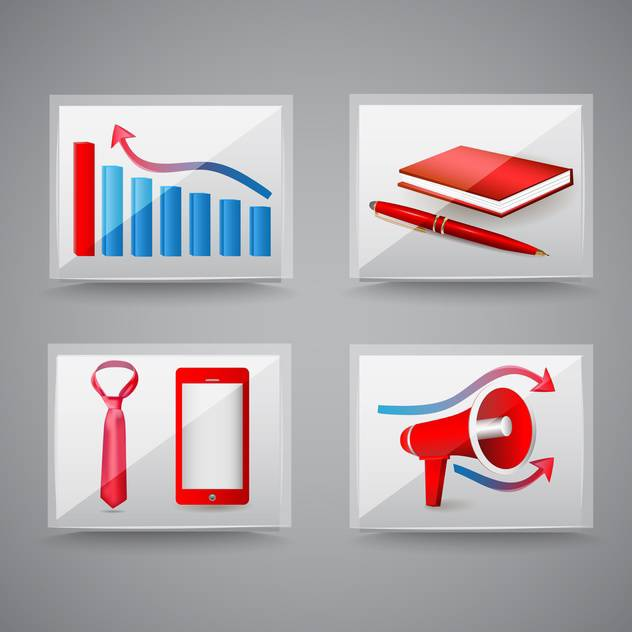 Business and office icons on grey background - vector gratuit #130001