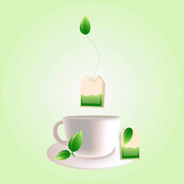 Vector cup of green tea on light green background - Free vector #130011