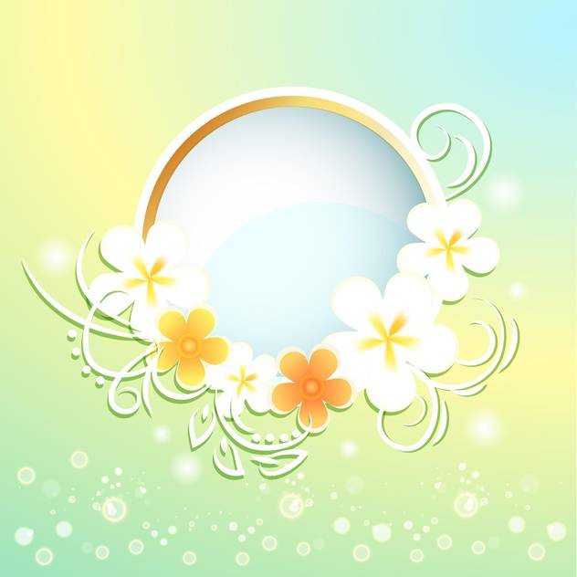 Spring frame with flowers on bright background - vector gratuit #130051